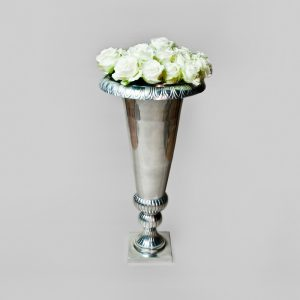 Large Silver V shape vase