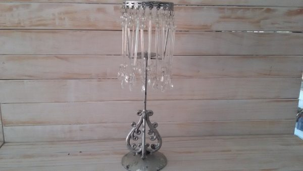 Silver Vintage Crystal Candle Holder