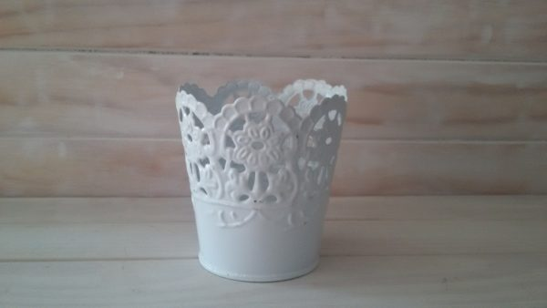 White Doily Vase